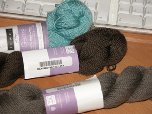 Louet Gems yarn in caribou, pewter, and aqua