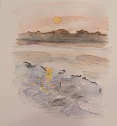 sketch of sunset over beach houses