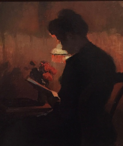 Oil painting of woman reading by lamplight. Woman bends over book in front of her with shoulder turned to viewer. Lamp illuminates her outline.