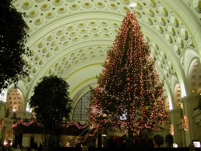 Interior photo of a two story train station with a barrel roof with hexagon decorations. There is a lit Christmas tree on right side of picture.